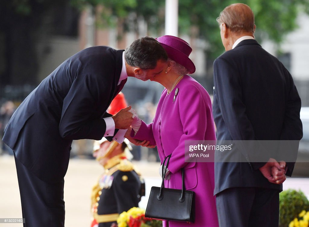 Queen Elizabeth II welcomes King Felipe VI of Spain as Prince Philip, Duke of Edinburgh looks on during a welcome ceremony at the Horse Guards Parade on July 12, 2017 in London, England. This is the first state visit by the current King Felipe and Queen Letizia, the last being in 1986 with King Juan Carlos and Queen Sofia.