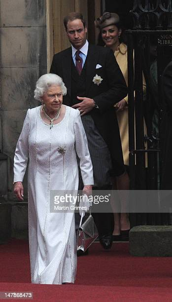 Queen Elizabeth II, William, Duke of Cambridge and Catherine, Duchess of Cambridge attend the Thistle Service for the installation of Prince William,...