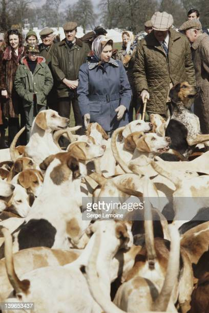 Queen Elizabeth II with a pack of hounds at the Badminton Horse Trials, UK, 1978.