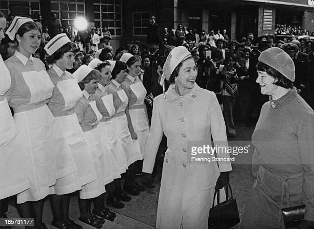 Queen Elizabeth II with Audrey Callaghan wife of Prime Minister James Callaghan during a visit to Great Ormond Street Hospital London 10th November...