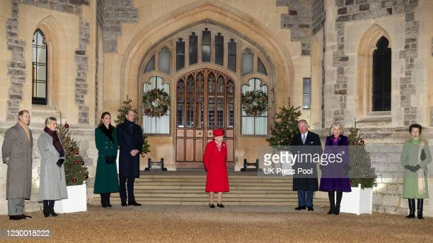 Queen Elizabeth II with Camilla, Duchess of Cornwall, Prince Charles, Prince of Wales, Prince William, Duke of Cambridge, Catherine, Duchess of...