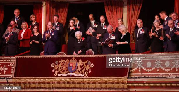 Queen Elizabeth II with Catherine Duchess of Cambridge Prince William Duke of Cambridge Vice Admiral Sir Tim Laurence Princess Anne Princess Royal...