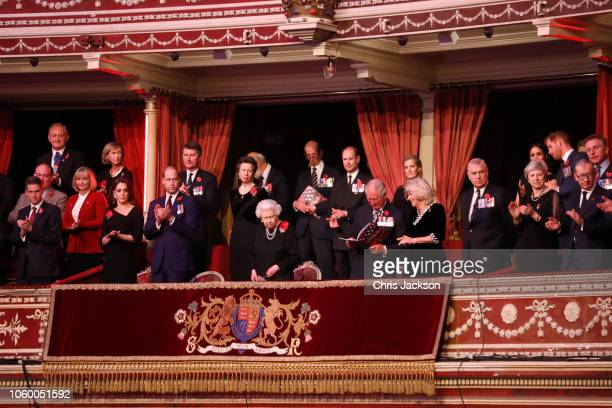 Queen Elizabeth II with Catherine, Duchess of Cambridge, Prince William, Duke of Cambridge, Vice Admiral Sir Tim Laurence, Princess Anne, Princess...