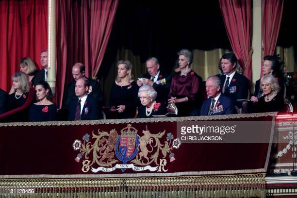 Queen Elizabeth II with Catherine Duchess of Cambridge Prince William Duke of Cambridge Prince Edward Earl of Wessex Sophie Countess of Wessex...