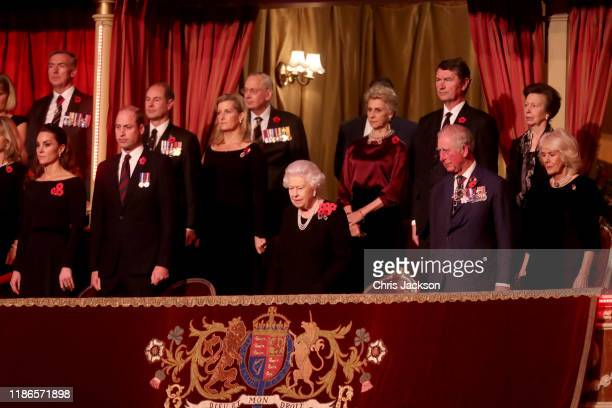 Queen Elizabeth II , with Catherine, Duchess of Cambridge, Prince William, Duke of Cambridge, Prince Edward, Earl of Wessex, Sophie, Countess of...