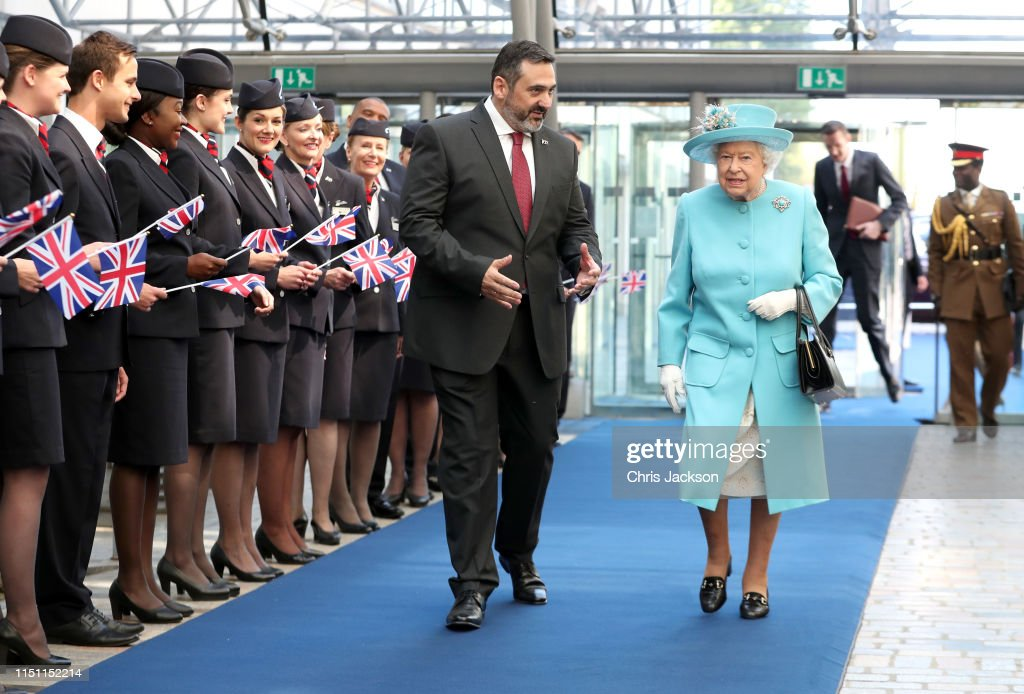 GBR: The Queen Visits The British Airways Headquarters To Mark Their Centenary