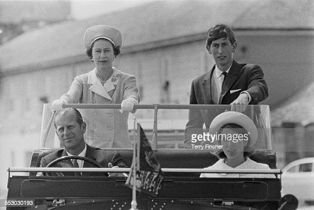 Queen Elizabeth II with Charles Prince of Wales Prince Philip Duke of Edinburgh and Anne Princess Royal during a visit to the Isles of Scilly 1967