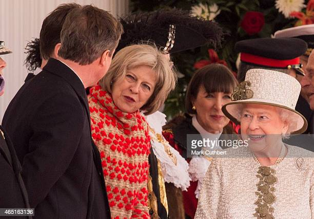 Queen Elizabeth II with David Cameron and Theresa May at a ceremonial welcome for the State Visit of The President of The United Mexican, Senor...