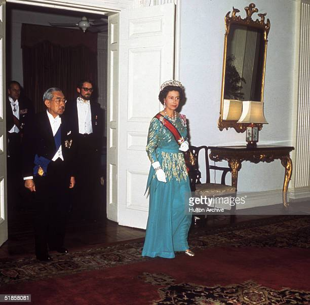 Queen Elizabeth II with Emperor Hirohito at a state banquet during her state visit to Japan 1975