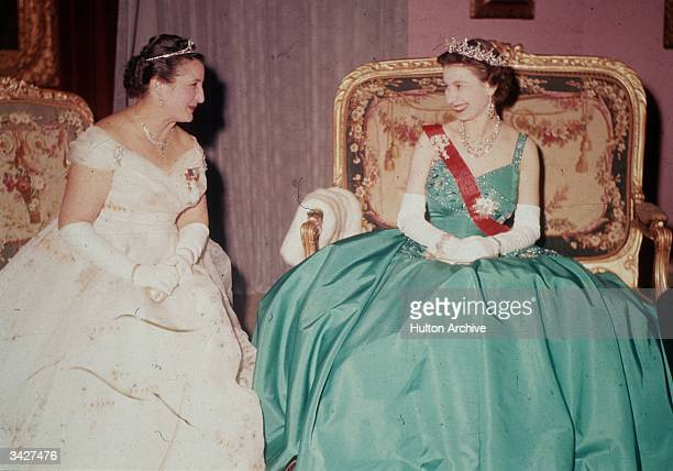 Queen Elizabeth II with Germaine Coty the wife of French President Rene Coty during her state visit to France
