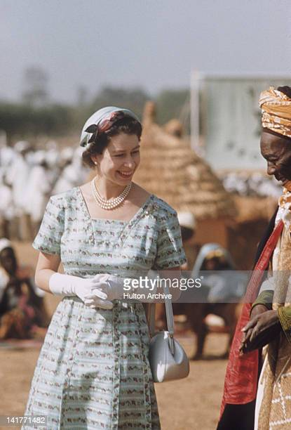 Queen Elizabeth II with Government minister Makaman Bida during her Commonwealth Visit to Nigeria February 1956