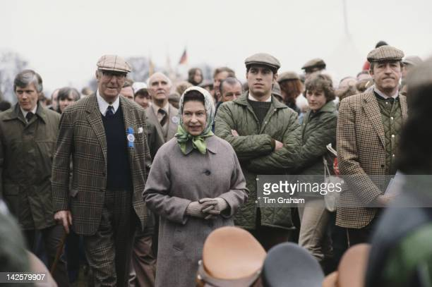 Queen Elizabeth II with Henry Somerset 10th Duke of Beaufort and Prince Andrew at the Badminton Horse Trials in Gloucestershire circa 1978 Badminton...