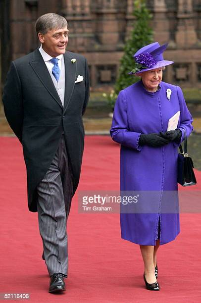 Queen Elizabeth II With Her Friend The Duke Of Westminster, Gerald Grosvenor At His Daughter's Wedding At Chester Cathedral