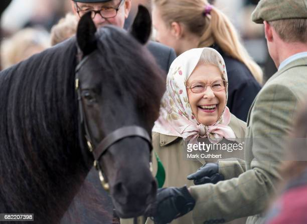 Queen Elizabeth II with her horse Murthwaite Dawn Chorus during the Windsor Horse Show on May 12 2017 in Windsor England