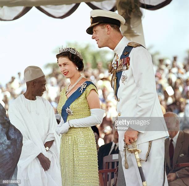 Queen Elizabeth II with her husband Prince Philip, the Duke of Edinburgh, pictured at a durbar at Bo, Sierra Leone, November 1961.