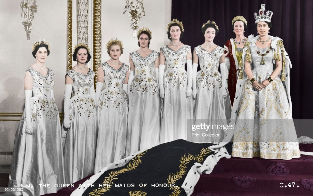 Hm Queen Elizabeth Ii With Her Maids Of Honour : News Photo
