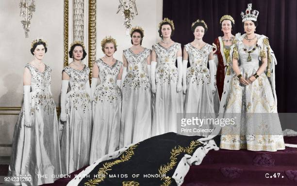 Queen Elizabeth II with her maids of honour, Green Drawing Room, Buckingham palace, 2nd June 1953. In selecting six Maids of Honour instead of pages...