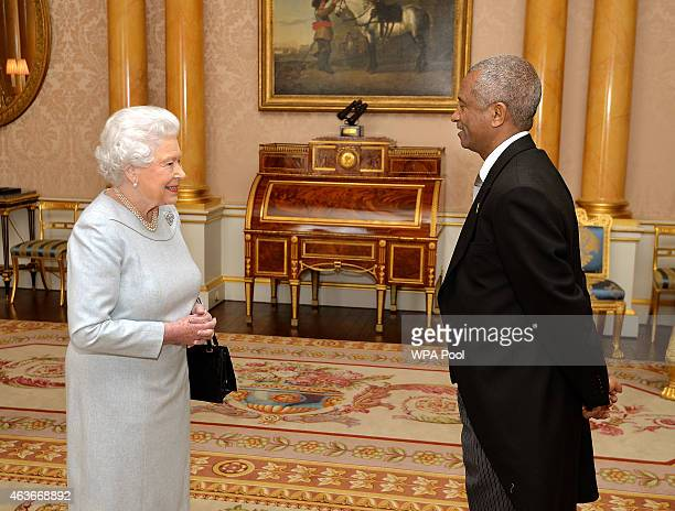 Queen Elizabeth II with His Excellency Mr Estifanos Habtemariam the new Ambassador of Eritrea during a private audience at Buckingham Place on...