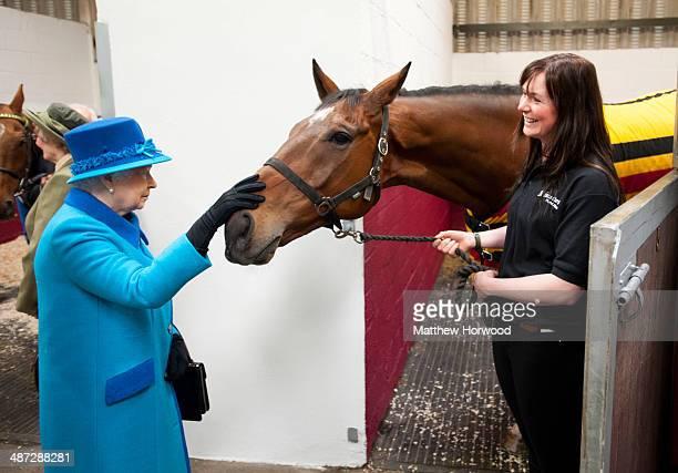 Queen Elizabeth II with horse Teaforthree and Rebecca Morris of Cotts Farm Equine Hospital during an official visit to Cotts Farm Equine Hospital,...