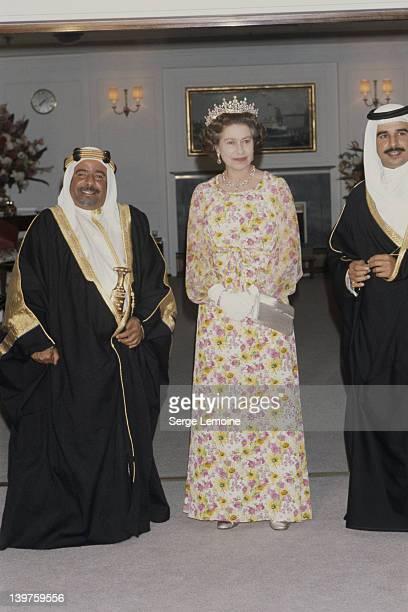 Queen Elizabeth II with Isa bin Salman Al Khalifa the Emir of Bahrain during a visit to Bahrain February 1979