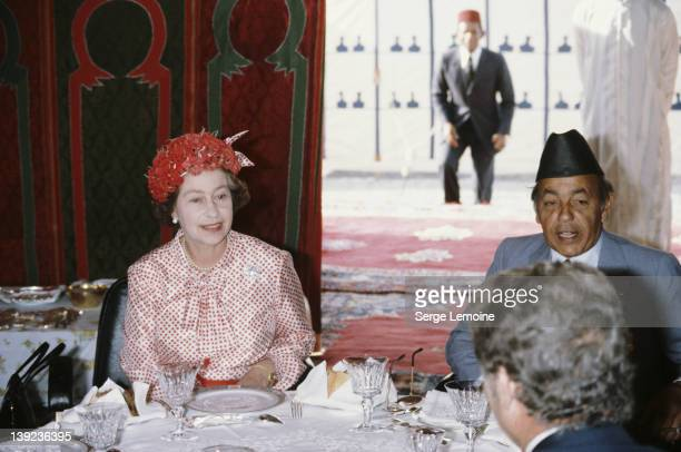 Queen Elizabeth II with King Hassan II during her state visit to Morocco 27th October 1980