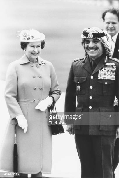 Queen Elizabeth II with King Hussein of Jordan upon her arrival in Amman Jordan 26th March 1984