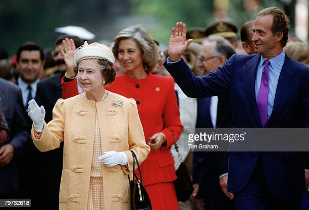 Queen Elizabeth II with King Juan Carlos of Spain and his wife Queen Sofia in Seville Spain