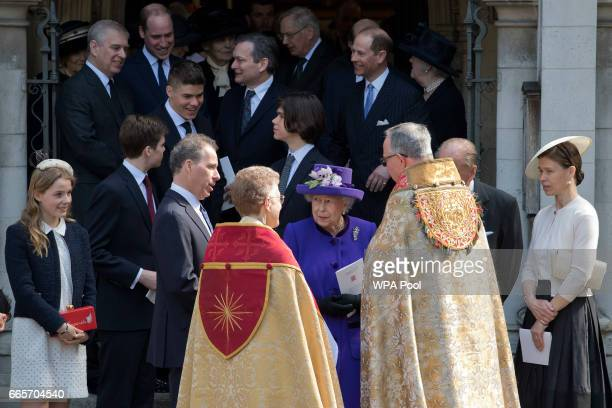 Queen Elizabeth II with Lady Margarita ArmstrongJones David ArmstrongJones Prince Philip Duke of Edinburgh and Lady Sarah Chatto leave a Service of...