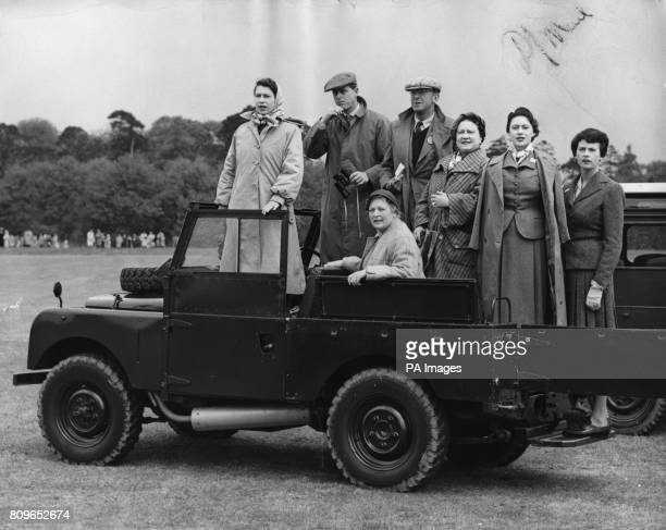 Queen Elizabeth II with, left to right, the Duke of Edinburgh, the Duke of Beaufort , the Duchess of Beaufort , the Queen Mother and Princess...