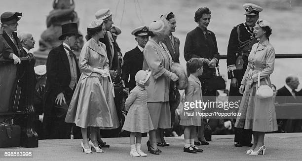Queen Elizabeth II with members of the British Royal Family; Princess Margaret, Princess Anne in front,Queen Elizabeth the Queen Mother, Princess...