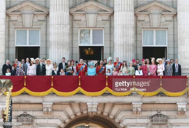 Queen Elizabeth II with members of the royal family on the balcony of Buckingham Palace in central London following the Trooping the Colour ceremony...