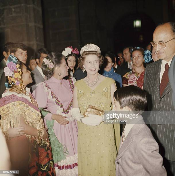 Queen Elizabeth II with Mexican President Luis Echeverria during her visit to Mexico 1975