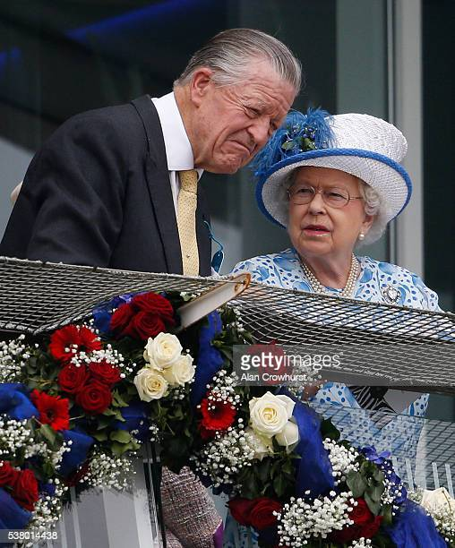 Queen Elizabeth II with Michael Oswald at Epsom Racecourse on June 4 2016 in Epsom England