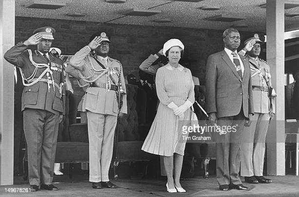 Queen Elizabeth II with President Daniel arap Moi in Nairobi during her visit to Kenya 10th November 1983
