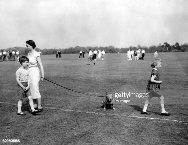 Queen Elizabeth II with Prince Charles and Princess Anne at Smith's Lawn Windsor Great Park where they watched the Duke of Edinburgh play polo for...
