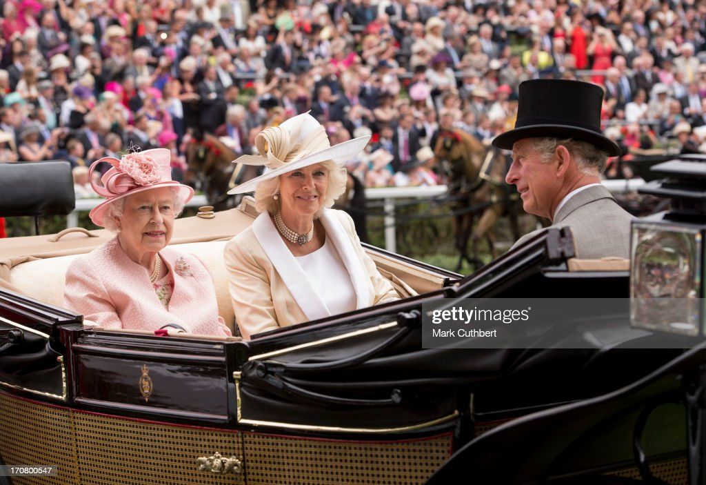 Queen Elizabeth II with Prince Charles, Prince of Wales and Camilla, Duchess of Cornwall attend Day 1 of Royal Ascot at Ascot Racecourse on June 18, 2013 in Ascot, England.