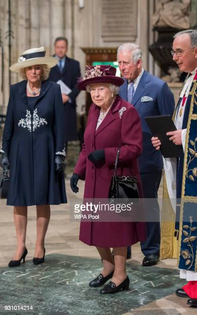 Queen Elizabeth II with Prince Charles Prince of Wales and Camilla Duchess of Cornwall attend the Commonwealth Service at Westminster Abbey on March...