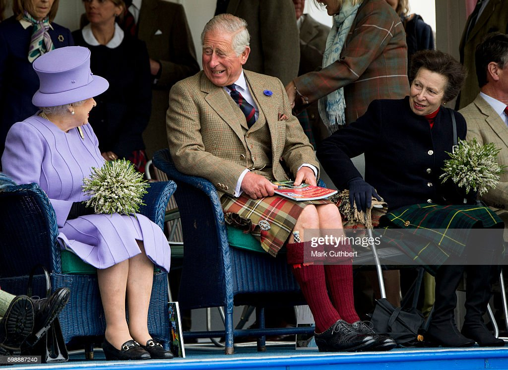 Queen Elizabeth II with Prince Charles, Prince of Wales and Princess Anne, Princess Royal attend The 2016 Braemar Highland Gathering on September 3, 2016 in Braemar, Scotland.