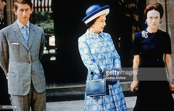 Queen Elizabeth II with Prince Charles Prince of Wales and Wallis Simpson Duchess of Windsor in Paris 1972