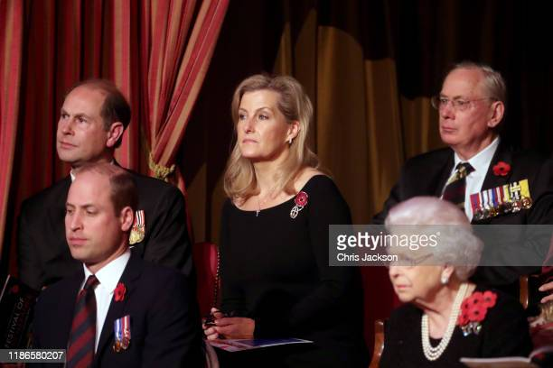 Queen Elizabeth II with Prince Edward Earl of Wessex Prince William Duke of Cambridge Sophie Countess of Wessex attend the annual Royal British...