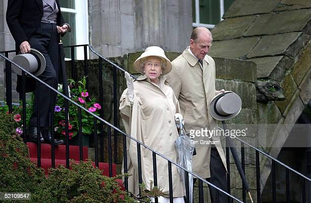 Queen Elizabeth II With Prince Philip At The Holyroodhouse Palace Garden Party During Her Visit To Edinburgh To Mark Her Golden Jubilee Year