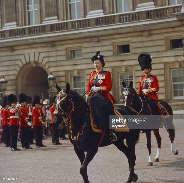 Queen Elizabeth II with Prince Philip at the Trooping the Colour ceremony in London, circa 1965.
