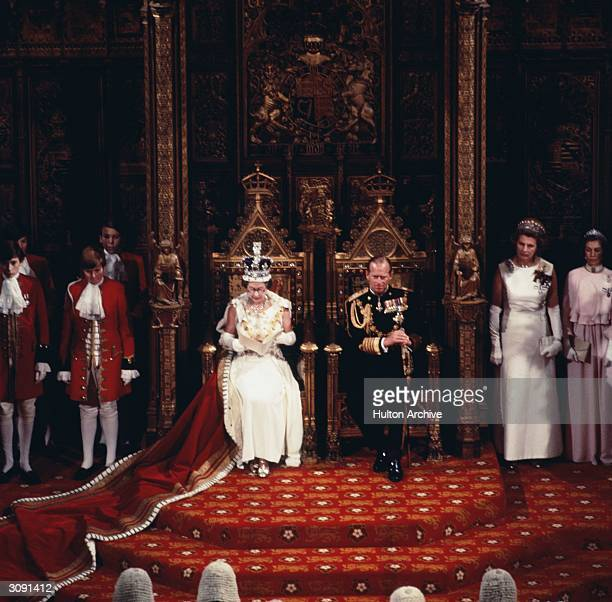 Queen Elizabeth II with Prince Philip Duke of Edinburgh at the state opening of British Parliament