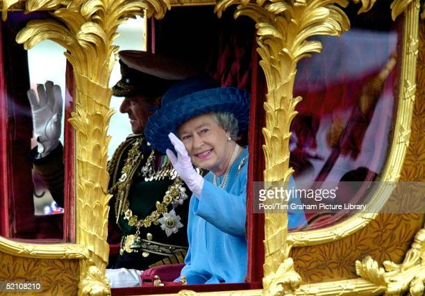 Queen Elizabeth II With Prince Philip In The Gold State Coach During The Procession From Buckingham Palace To St. Pauls. The Coach, Built For King...
