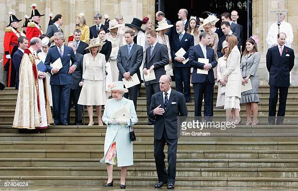 Queen Elizabeth II with Prince Philip the Duke of Edinburgh along with Prince Charles Prince of Wales Camilla Duchess of Cornwall Prince William and...