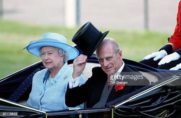 Queen Elizabeth II With Prince Philip Wearing Traditional Top Hat And Tails In The Carriage Procession On The Second Day At Royal Ascot Races The...