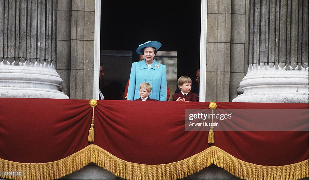 GBR: Queen Elizabeth II with Prince William and Prince Harry during the Tropping of the Colour ceremony : News Photo