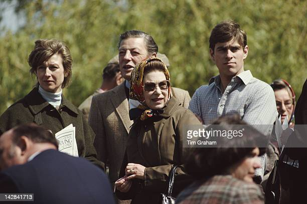 Queen Elizabeth II with Princess Alexandra, Sir Angus Ogilvy and her son Prince Andrew at the Royal Windsor Horse Show, Windsor, 10th May 1980.