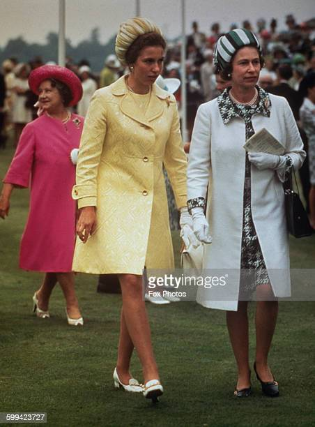 Queen Elizabeth II with Princess Anne and the Queen Mother at Royal Ascot, 16th June 1970.