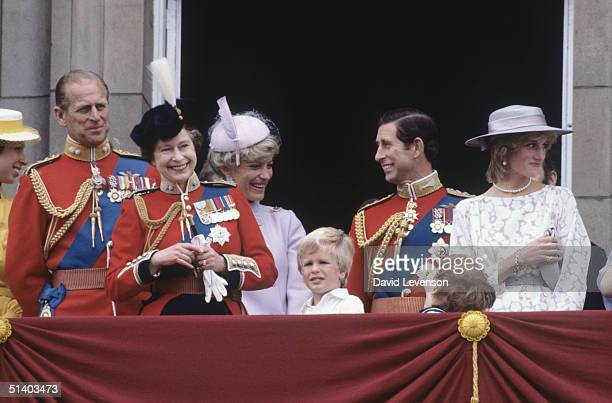 Queen Elizabeth II with Princess AnnePrince Phillip Princess Michael of Kent Peter Phillips Prince Charles and Diana Princess of Wales on the balcony...